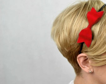 Headband with red bow made of eco leather