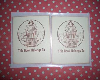 Bookplates - Train - Locomotive - Handmade - Set of Six