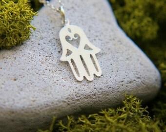 SALE, Hamsa Hand Necklace, Sterling Silver Hamsa Necklace, Hamsa Jewelry, Symbol Necklace, Everyday Necklace, Sterling Silver Chain
