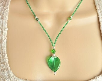 Emerald Green Venetian Murano Glass Twist Leaf Beads, Silver and Dark Moss Green Swarovski Crystal Necklace and Earring Set
