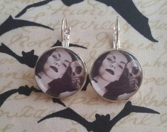 Vampira inspired horror queen french hook earrings