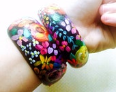 Beautiful Hand Painted Floral Print Wooden Bangle Bracelet. A colorful, unique statement piece for any jewelry lover in your life.