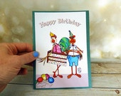 Happy Birthday card Hand Made Green or Lavender Stock Couple Cake Balloons Party