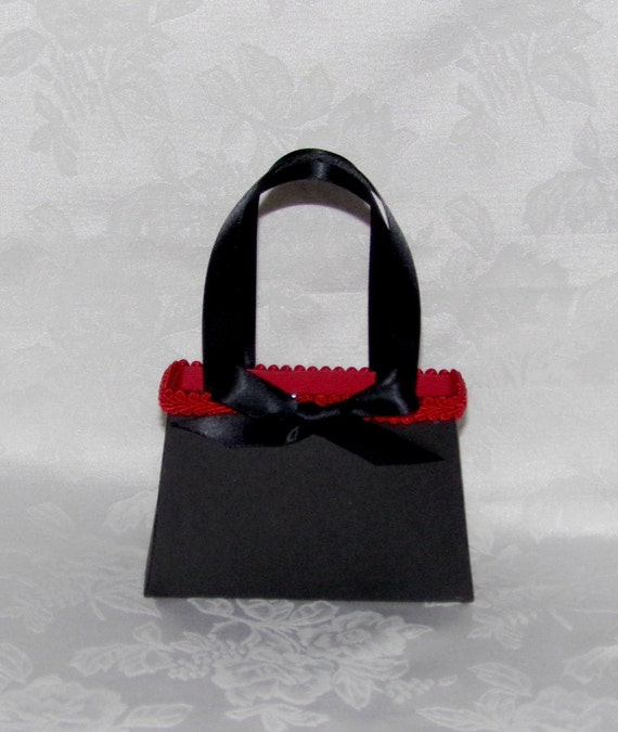 Black and Red Paper Purse Gift Bag, Favor Box, Keepsake