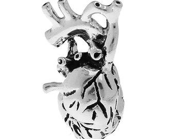 2pcs. Antique Silver Anatomical Organ Heart Medical Charms Pendants - 27mm X 13mm