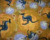 Ethnic Aboriginal fabric by the Half yard/ Kangaroo print fabric/ for Quilting /Home Decor/ crafting/ Pillow accents/ Clothing