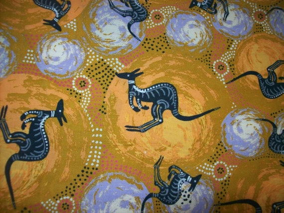 Ethnic Aboriginal Fabric By The Half Yard Kangaroo Print
