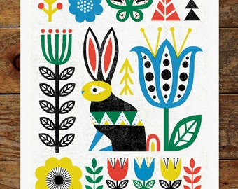 Folk Rabbit, Woods, Trees, Forest, Scandinavian, Folk Art, 11x14 Art Print
