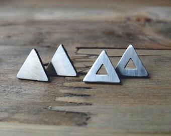 triangle studs / simple triangle earrings / small studs / stainless steel earrings / minimalist earrings