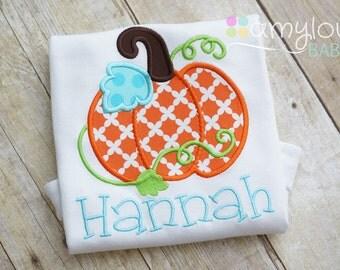 Halloween or Thanksgiving Pumpkin Toddler Tee Shirt - Girl - Personalized - Orange, Aqua, Green - Fall - Pumpkin Patch - Name - Child