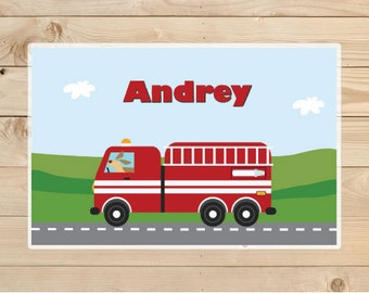 Fire truck placemat - Personalized Placemat for Kids