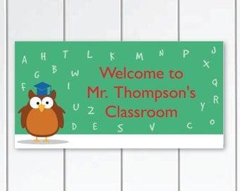 On sale this week Owl Teacher-Door-Sign-ABC Alphabet classroom-door-plaque