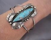 RESERVED FOR KRISTINA:  Vintage Sterling Large Turquoise Leaf Navajo Cuff Bracelet