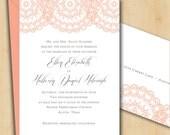 Printable Wedding Invitation - Vintage Lace