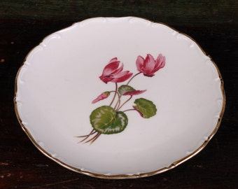 Schumann, Bavaria Porcelain Plate with Pink Cyclamen Flowers