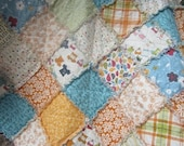 Baby/Toddler Rag Quilt.....Beach Theme.....Lucy's Crab Shack....Reversible....Perfect Naptime and Stroller Blankie....Ready to Ship