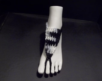 Black and White Crocheted Barefoot Sandals