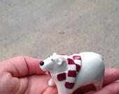 polar bear with scarf - miniature ceramic figurine