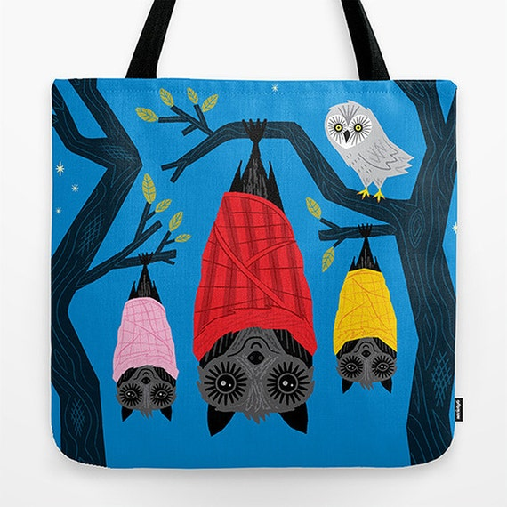"Bats in Blankets - Dark Blue - Childrens Tote Bag - Book Bag -  Record bag - 18"" x 18"""