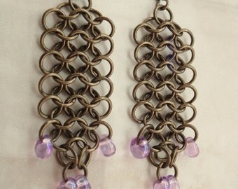 Chain Maille Earrings Euro 4 in 1 Dangle Gunmetal Purple Beads Hand Made