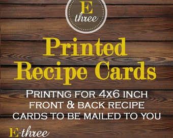 Printing for 4x6 inch recipe cards - Front and Back Professinal printing - card stock