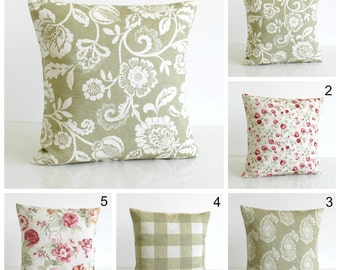Green cushion cover, 10x10 pillow cover, shabby chic, country, cottage chic, pillow sham, pillow case - Shabby Chic Sage Collection