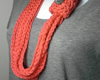 Pumpkin Orange Crocheted Chain Infinity Scarf