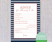 Print Your Own Mommy Advice Cards - Stripe - Navy & Red - Baby Book Keepsake - Baby Shower Game - PDF - Instant Download
