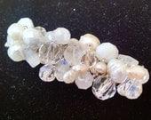 Crystal Rhinestone and Pearl Beaded Alligator Hair Clip - TRUDY