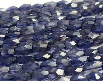 Iolite Beads - Iolite Faceted Bicone Beads -  Beautiful Violet Blue Iolite Bicone Beads, Gemstone, 8x5mm To 10x5mm, 34Pcs, 13 Inch Strand