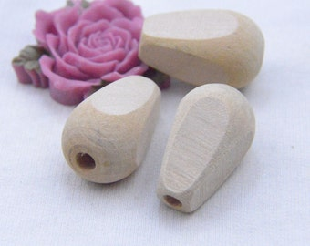 Wholesale Natural wood bead / unfinished teardrop wooden beads / cone bead 30x19mm 50 pieces