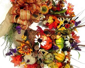 Fall Cornucopia Wreath door Floral Arrangement Pumpkins Gourds Burlap Autumn Harvest Thanksgiving Stunning Design by Cabin Cove Creations