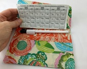 Green Duplicate Checkbook Cover Register -  Duplicate Checkbook Reigster Fabric Checkbook Cover Amy Butler Bright Heart Coco Bloom in Bisque