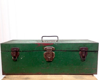 Vintage Green Metal Tool Box