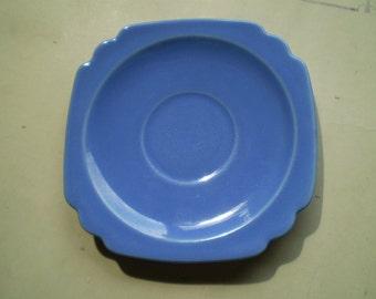 Vintage Homer Laughlin Riviera Saucer - Blue - Circa 1930s 1940s
