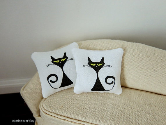 Retro black cat modern pillows set of two dollhouse