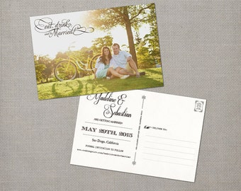 "Wedding save the date postcards, 4x6, Save the Date Postcards, the ""Madeline"""