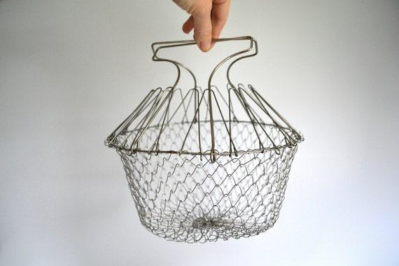 Vintage Wire Egg Basket, Collapsible Farm Metal Mesh Gathering Basket, Farmhouse Rustic, Cottage Chic, Hanging Planter Basket, Easter