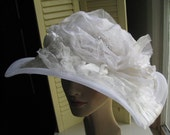 Artistic Asymmetrical Big Brim Romantic White Silk Bridal Picture Hat