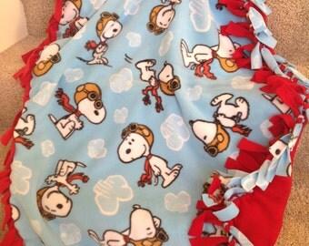 "Snoopy Peanuts fleece tie blanket/throw 43""x55"" (child size)"