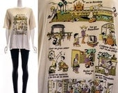 Vintage 80s White Buenos Aires Argentina Novelty Souvenir T-Shirt Tourist Tee Paper Thin Oversized Slouchy M L XL