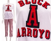 Vintage 80s Red White Black Block A Arroyo Sports Athletic Jersey Tee Paper Thin T-Shirt Spanish Small Medium