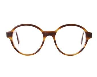 Big Round Honey Brown Vintage Eyeglasses - Bowie Pop Miel glasses - 1980's NOS - oversized