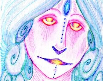 7x9 Fine Art Print Avatar Elf, Blue Pen, Tribal, Ethnic, Mystic, Shaman, Druid, Elven Fantasy Mystical Magical Art