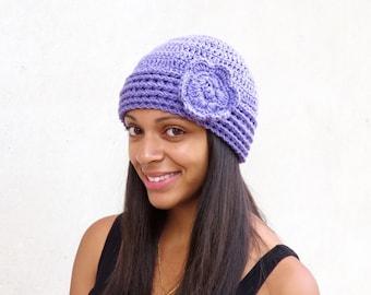 Crochet Hat, Crochet  Beanie, Cloche, Crochet Flower Hat, Color is Light Purple