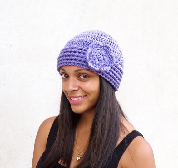 Crochet Hat, Beanie, Cloche, Flower, Adult, Women, Teen, Lavender, Purple, Ready To Shi