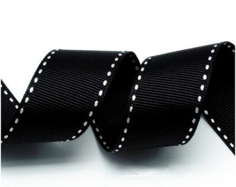 5Yards Black/White Grosgrain Stitch Ribbon - 5mm(2/8''), 10mm(3/8''), 15mm(5/8''), and 25mm(1'')