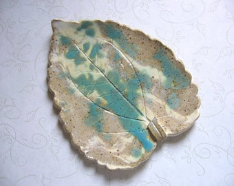 Turquoise Canyon Pottery Leaf Spoon Rest