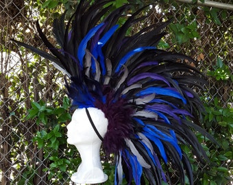 Feather Mohawk in Black, Blue, Purple and grey feathers- Headdress, Costume, Burning Man, Playa wear, Mad max, gatsby