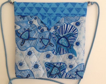 Sea Turtles Quilted Fabric Snap Bag Purse Handbag